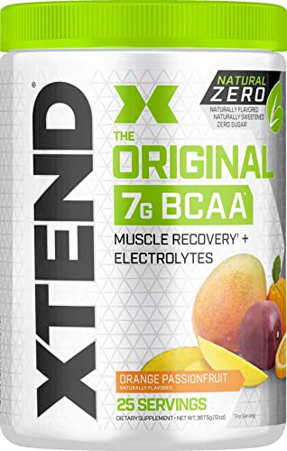 XTEND Natural Zero BCAA Powder Orange Passionfruit Free of Artificial Sweeteners, Flavors, and Chemical Dyes Post Workout Drink with Amino Acids 7g BCAAs for Men Women 25 Servings, 13 oz