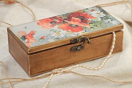 Caja de madera hecha a mano con estampado en tapa rectangular