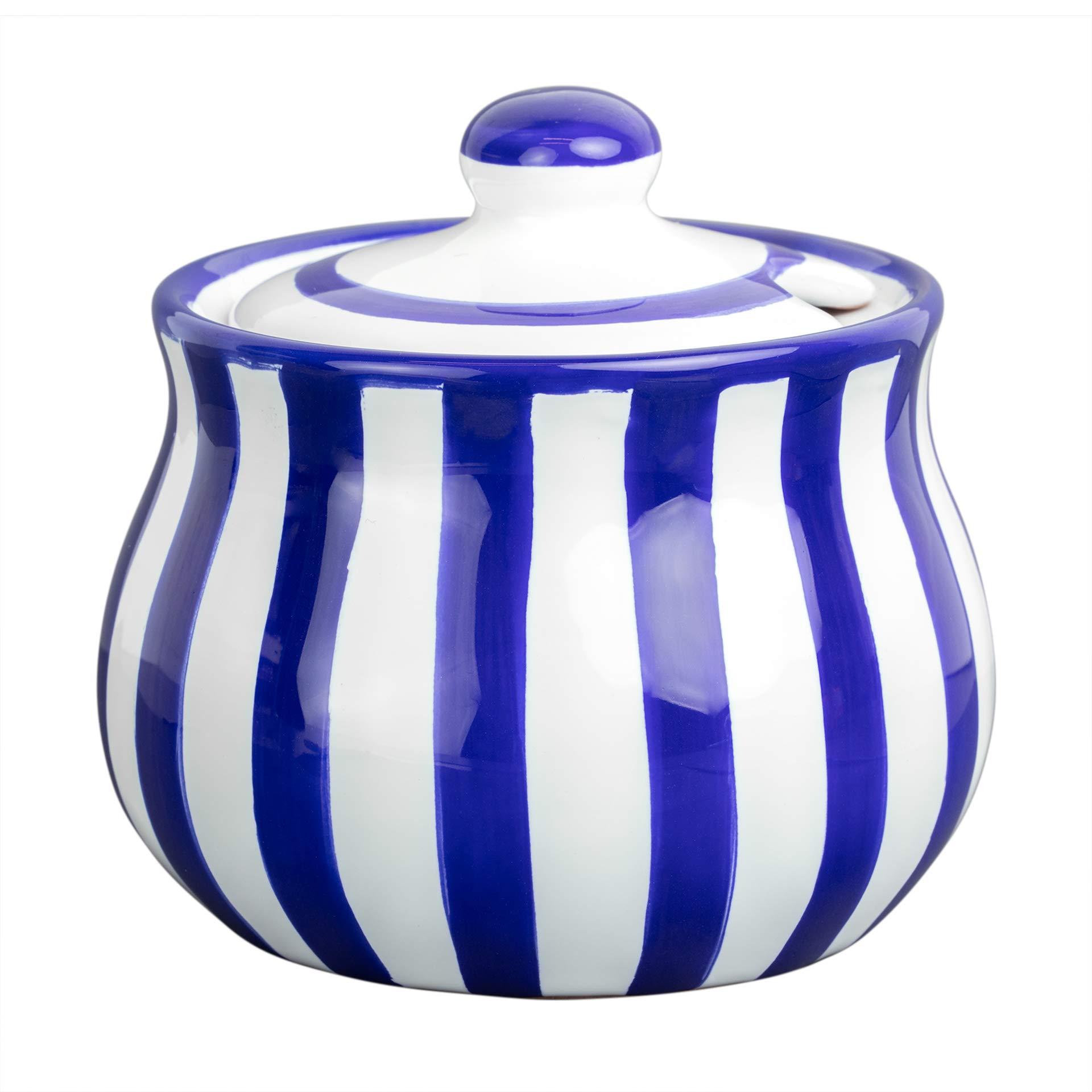 City to Cottage Handmade Dark Navy Blue Stripe Ceramic Sugar Bowl, Pot with Lid   Pottery Honey Jar, Jam Jar   Housewarming Gift