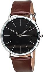 SIX Unisex Uhr, Lederarmband,schwarzes Ziffernblatt, Silberne Details, braun (274-355)
