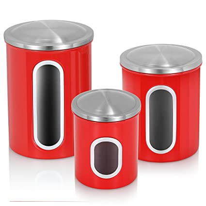 Merveilleux Fortune Candy Canister Set For Kitchen 3 Pieces Stainless Steel Food  Storage Canisters With Airtight Lid
