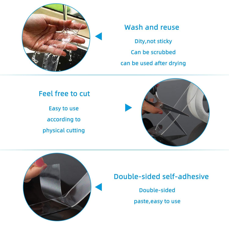 Reutilizable Nano Tape,Multifuncional Nano Cinta Adhesiva de Doble Cara Transparente de Pared Fuerte 3M YISUN Cinta Adhesiva Lavable Fijaci/ón de Fotos Alfombra Para Cocina