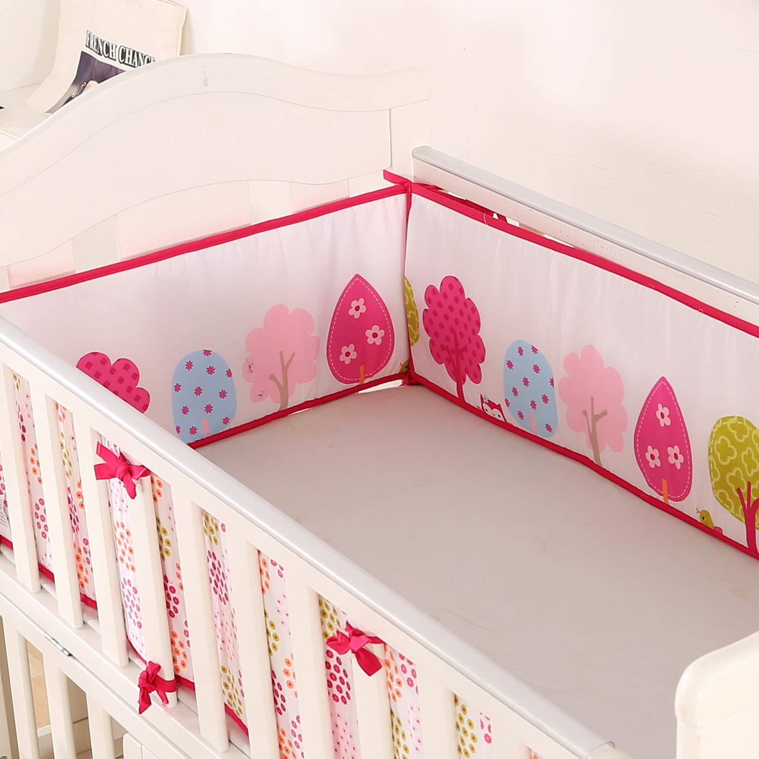SOLID PINK NURSERY BUMPER 420 cm LONG ALL ROUND BUMPER TO FIT BABY COT BED