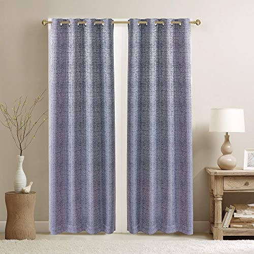 YOSTEV Textured Blackout Room Darkening Window Treatment Curtain Panel,Noise Reducing,Thermal Insulated,Energy Efficient Saving Grommet Top for Bedroom,Grey,52×96 inches,1 Panel