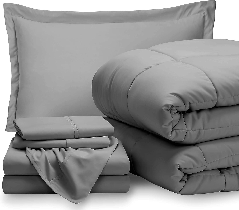 Bare Home Twin XL Sheet Set - 1800 Ultra-Soft Microfiber Bed Sheets (Twin XL, Light Grey) + Comforter Set - All Season (Twin/Twin XL, Light Grey)