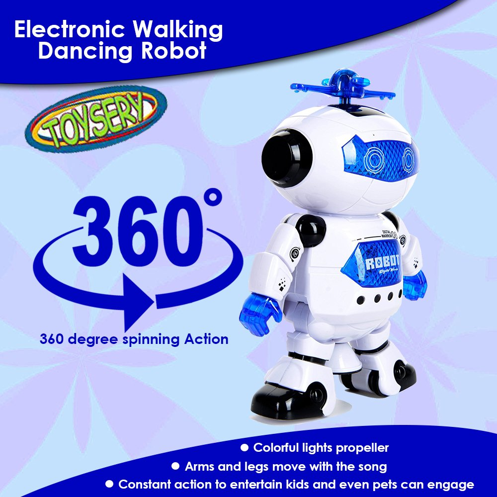 Toysery Electronic Walking Dancing Robot Toys With Music Lightening For Kids Boys Girls Toddlers, Battery Operated Included by  Toysery (Image #4)