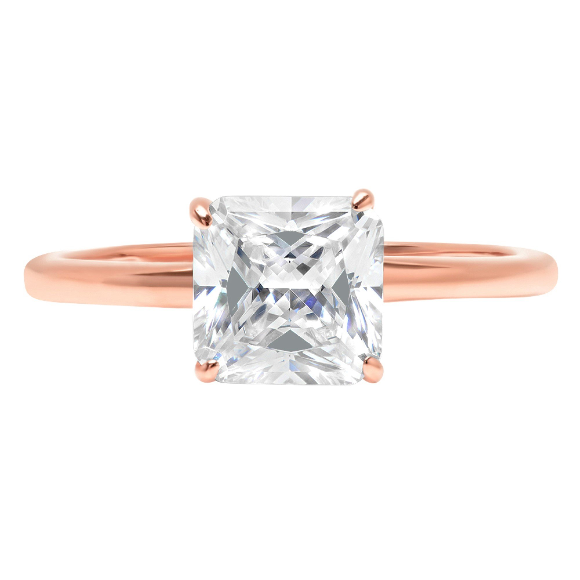 Asscher Brilliant Cut Classic Solitaire Designer Wedding Bridal Statement Anniversary Engagement Promise Ring Solid 14k Rose Gold, 2.2ct, 6.75 by Clara Pucci