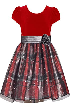 eb5b7c51efc6b7 Amazon.com  Bonnie Jean Big Girls 7-16 Velvet to Red Plaid Holiday ...