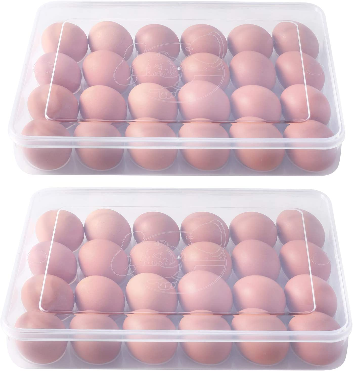 Zoymensu 2 Pack Egg Holders for Refrigerator Plastic Egg Containers with Lid Fridge Egg Tray Egg Storage Box(48 Eggs)