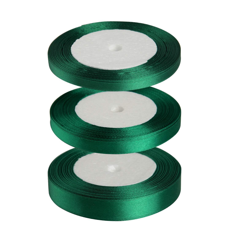 FEPITO Nastro Verde Scuro 6mm 10mm 15mm Nastro di Raso Verde Set Nastri per Artigianato Confezione Regalo Decorazione Floristica di Natale (23M / Roll x 3Roll) (Green)