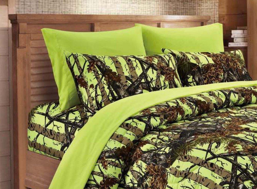 20 Lakes Microfiber 6 Piece Powder Blue Camo Rustic Bed Sheet Set & Pillowcases (Naval)