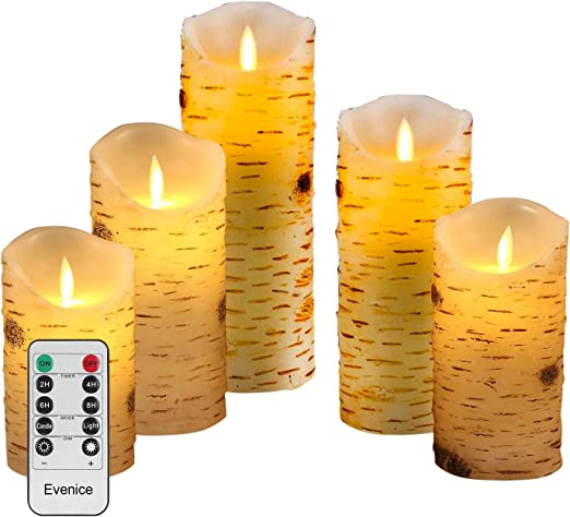 3x LED Flameless Pillar Candles Battery Operated Ivory White Wax