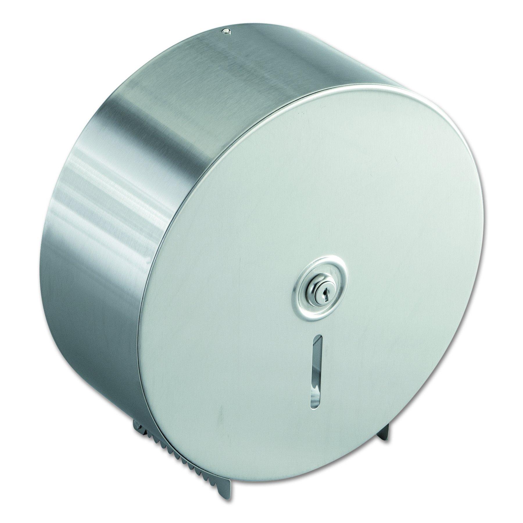 Bobrick 2890 Jumbo Toilet Tissue Dispenser, Stainless Steel, 10.625W x 10.625H x 4.5D