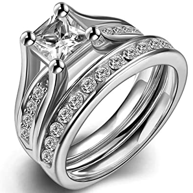 Amazon.com: Anillo de acero inoxidable de corte princesa ...