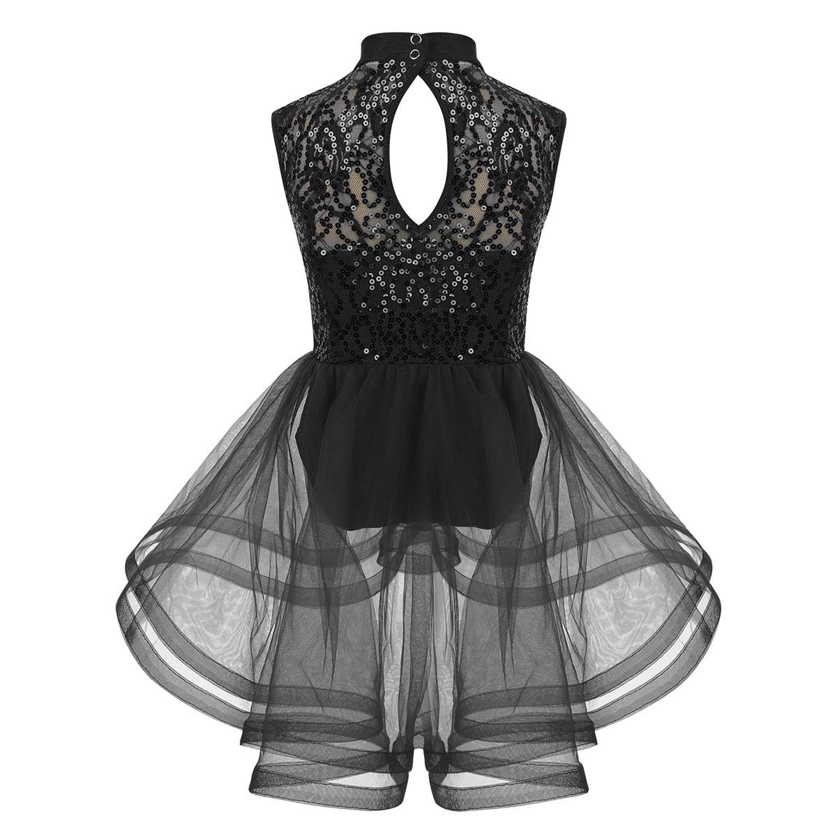 moily Big Girls Sequins High Neck Tank Leotard with Tutu Skirts Ice Skating//Ballet//Jazz Dance Dress