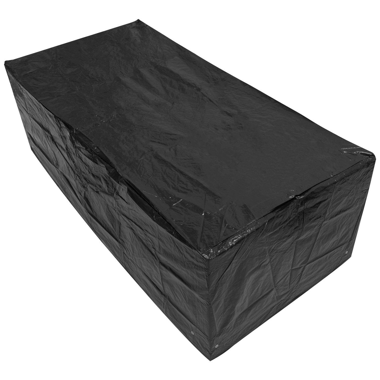 Woodside - copertura rettangolare impermeabile per tavoli da giardino - 1, 8 m / 6ft - nero - large