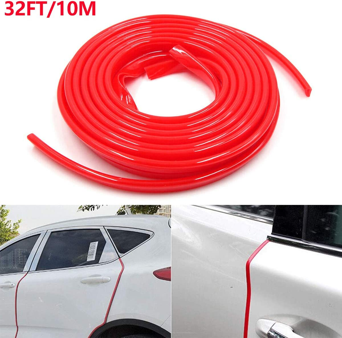 10M 32Ft AGAIN Car Door Edge Protector SEEU Red Flexible Universal Car Edge Trim Rubber Line Seal Protector Compatible with Most Car