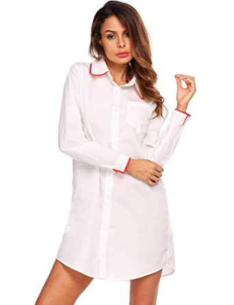 7bf4cac046 Image Unavailable. Image not available for. Color  Ekouaer Womens Boyfriend  Long Sleeve Sleep Shirts Button Down Tops Cotton Sleepwear