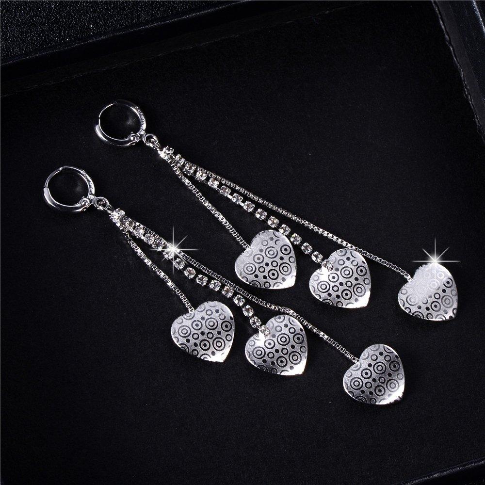 XZP Fashion Heart CZ Drop Earrings Sterling Silver Plated Long Tassel Dangle Earrings For Women Girls