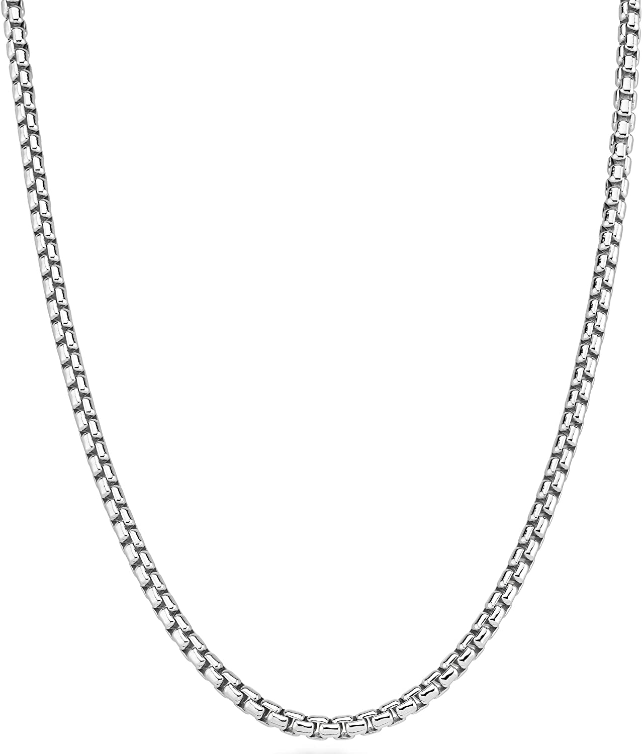 Miabella Solid 925 Sterling Silver Italian 3.5mm Square Rolo Link Round Box Chain Necklace Bracelet for Women Men, 7, 7.5, 8, 8.5, 9, 16, 18, 20, 22, 24, 26, 30 Inch Made in Italy