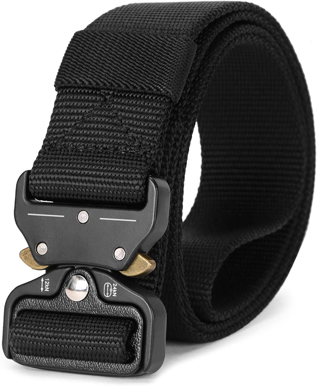 Military Style Webbing Riggers Belt Metal Buckle Quick Release Men//Women Tactical Nylon Belt