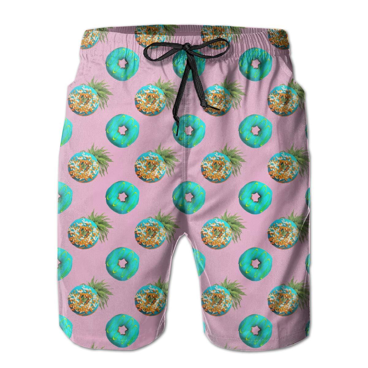 FUNSTYEET Pineapple Doughnut Pink Mens Board Shorts Swim Mesh Lining and Side Pocket