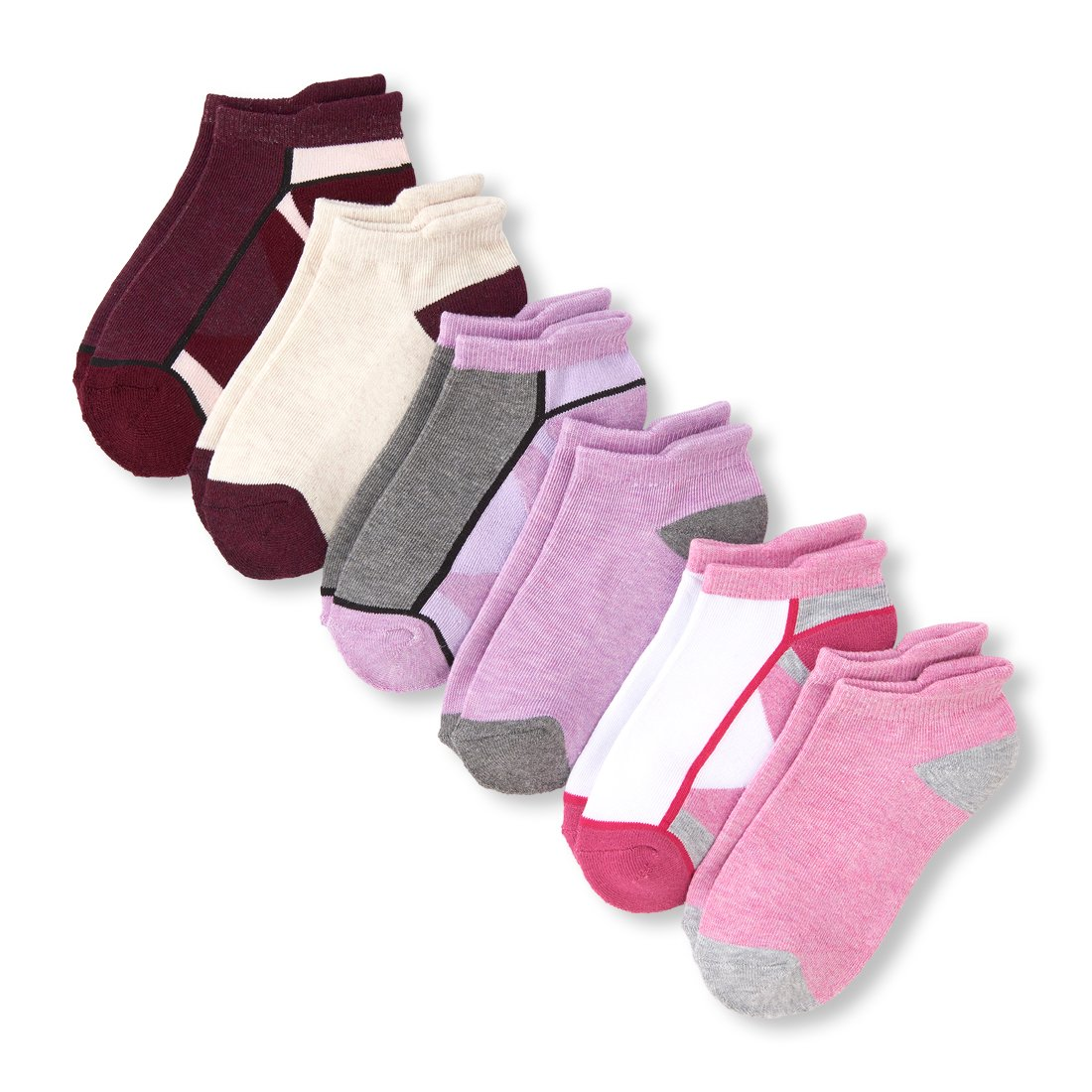 The Children's Place Big Girls' 6 Pack Sporty Ankle Sock, Multi CLR, S 11-13