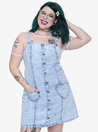 Blackheart Heart Pocket Acid Wash Overall Dress Plus Size Blue at ...