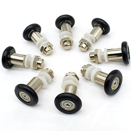 Set of 8 puertas de ducha rodillos corredores ruedas poleas 25 mm * 6 mm –