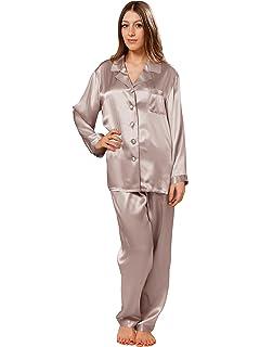ElleSilk Femme Set de Pyjama en 100% Soie, Pyjama Long en
