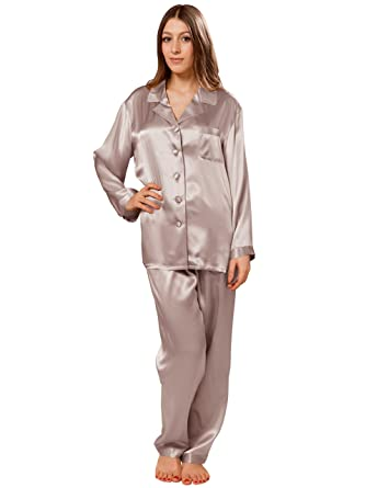 ElleSilk Femme Set de Pyjama en 100% Soie, Pyjama Long en Soie, 22 Momme, Hypoallergénique