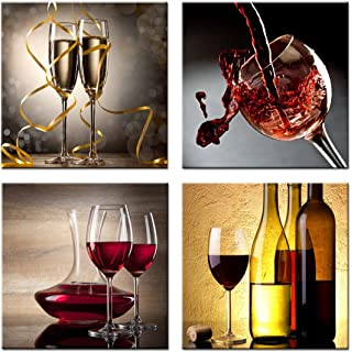 Home Decor Canvas Wall Art -4 Panels Canvas Prints Wine Pictures