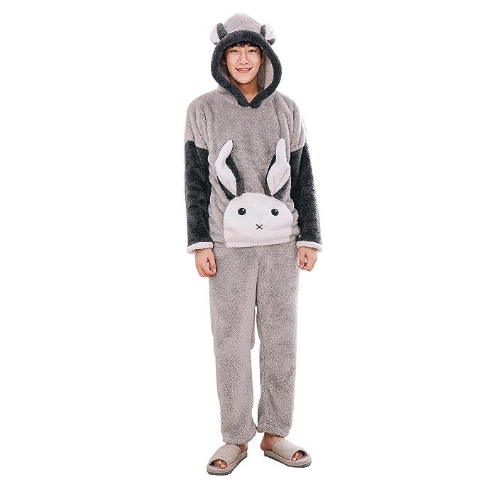 Pareja grueso invierno cálido pijama que lindo conejito con capucha felpa set pijama: Amazon.es: Ropa y accesorios