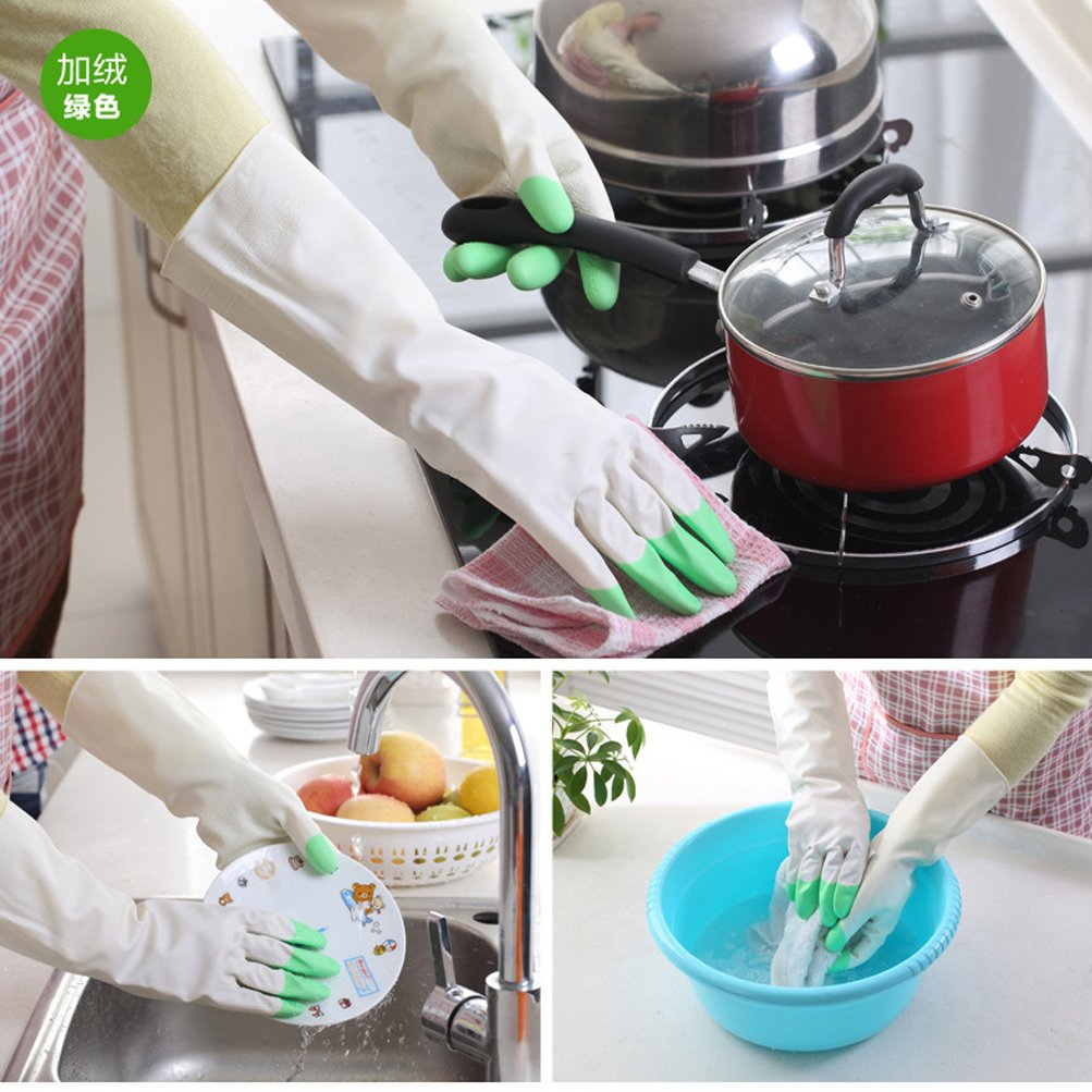 URSMART Reusable Waterproof Household Rubber Latex Cleaning Gloves 5 Pairs