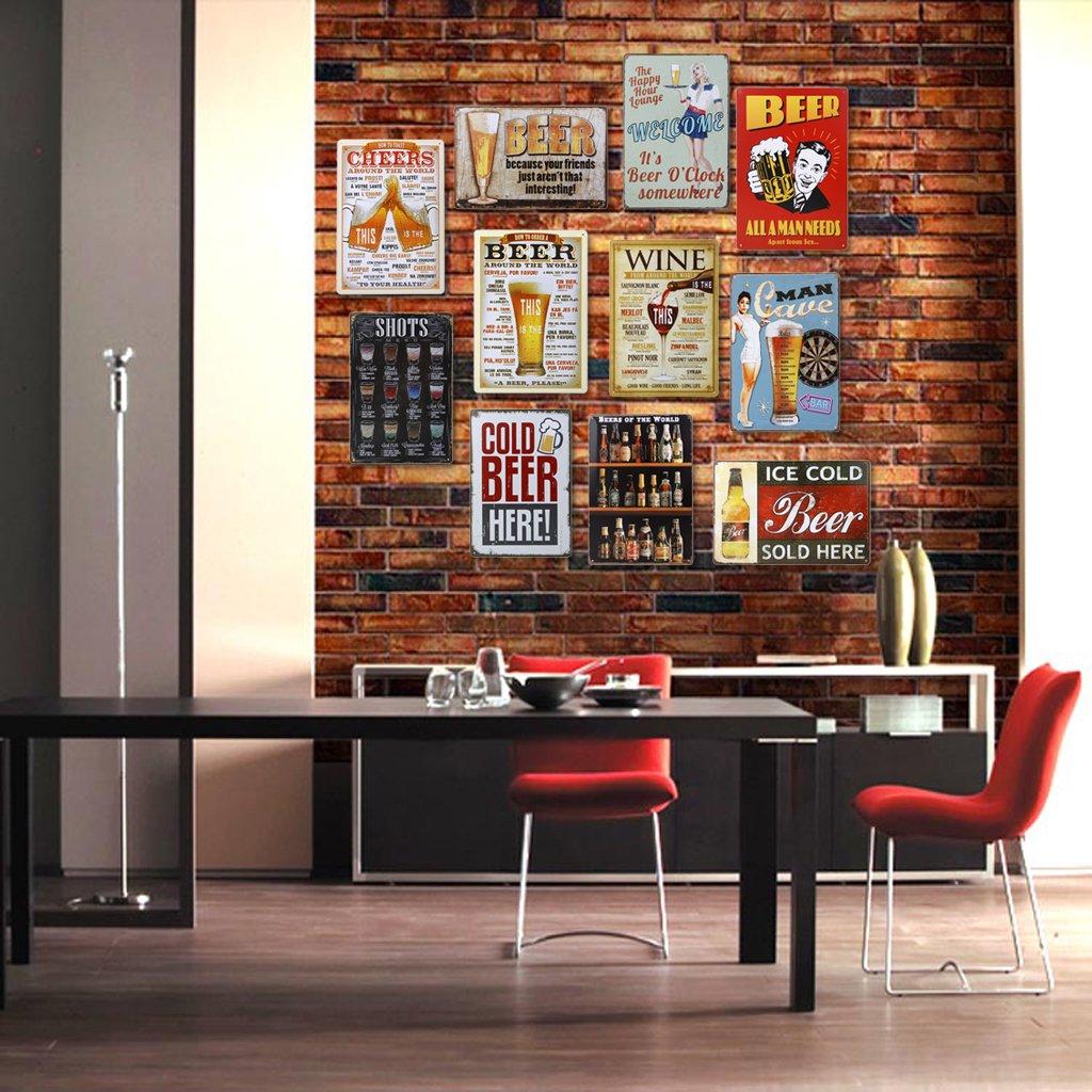 Poster M/étallique Affiche Peinture Art D/écoratif Vintage pour Bar Caf/é Pub 20cmx30cm Bi/ère #11