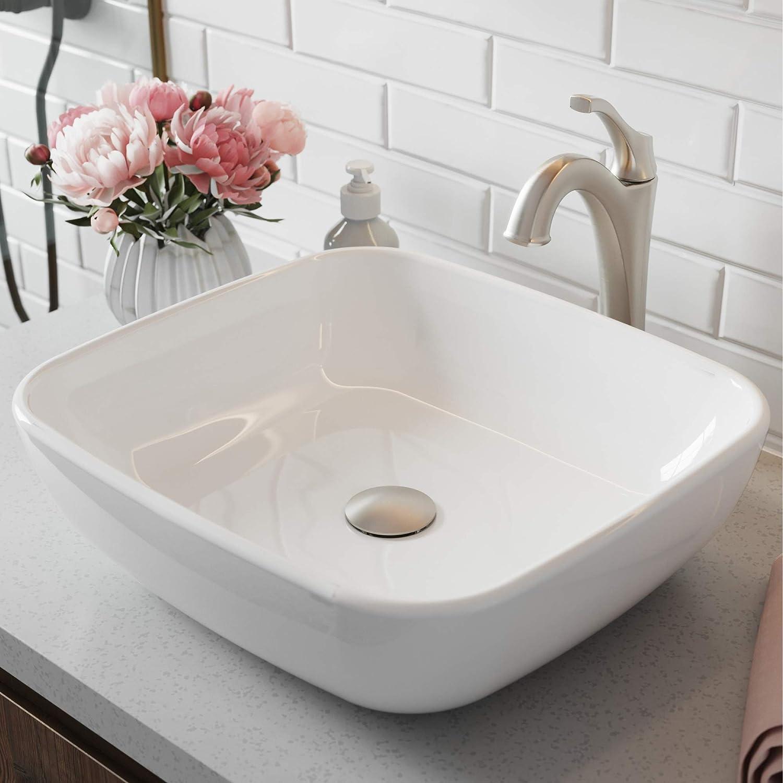 Kraus C-KCV-127-1200SFS ELAVO Sink and ARLO Faucet Bathroom Set, Stainless Brushed Nickel