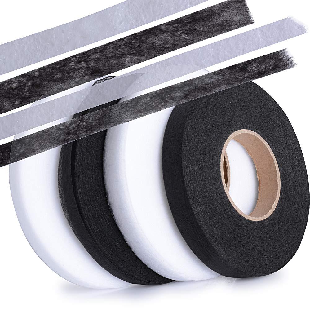 4 Rollos total, 1.5cm Blanco*2 + Negro*2 256m Cinta de Dobladillo Adhesiva Planchar sin Coser Fusible Fusi/ón de Tela para Ropa Manualidades Ancho 1cm