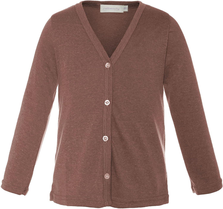 ReliBeauty Little Girls Long Sleeve Button Down Cardigan 3T Brown