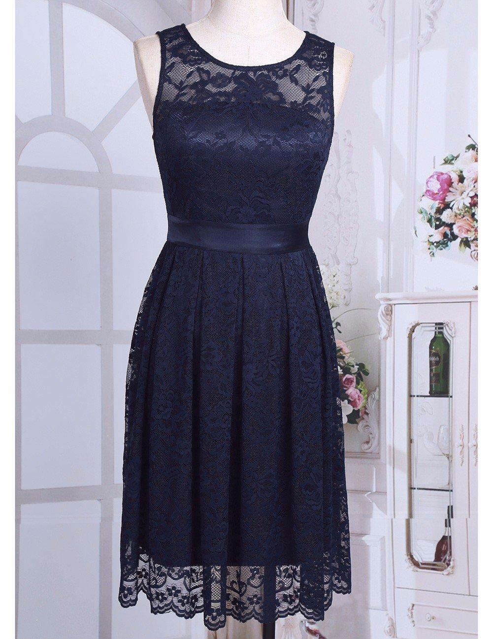 iiniim Womens Vintage Floral Lace Sleeveless Evening Dress