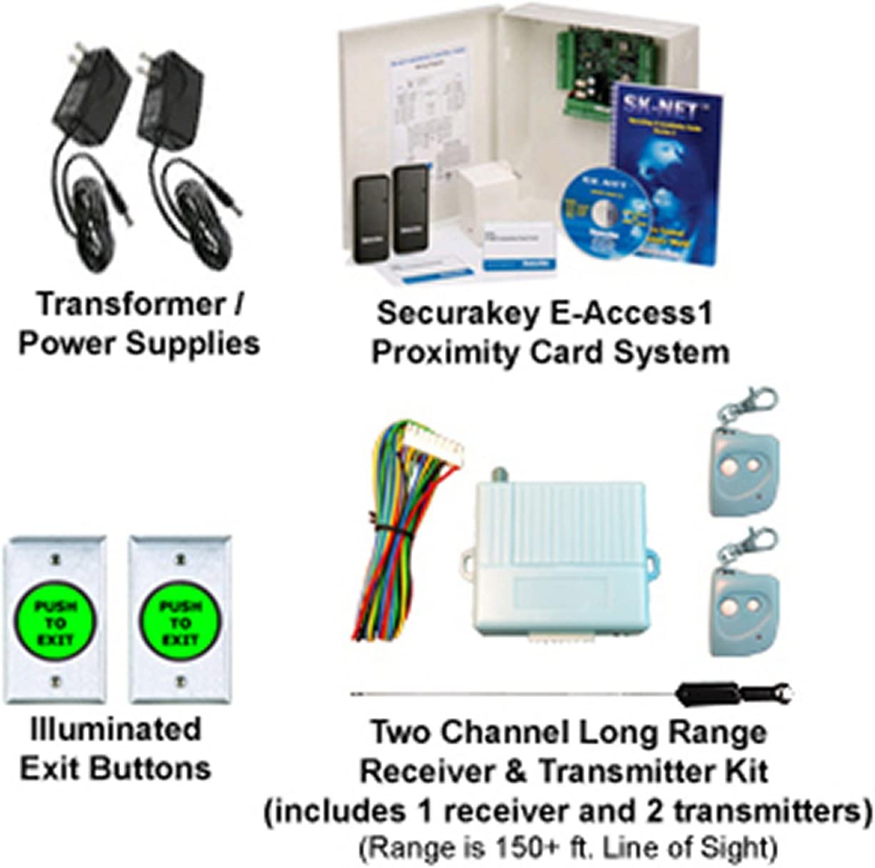 Door Access Control System 2Wireless Receiver/& Remotes Electric Magnetic Lock