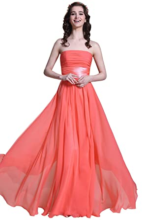 Strapless Coral Bridesmaid Dress