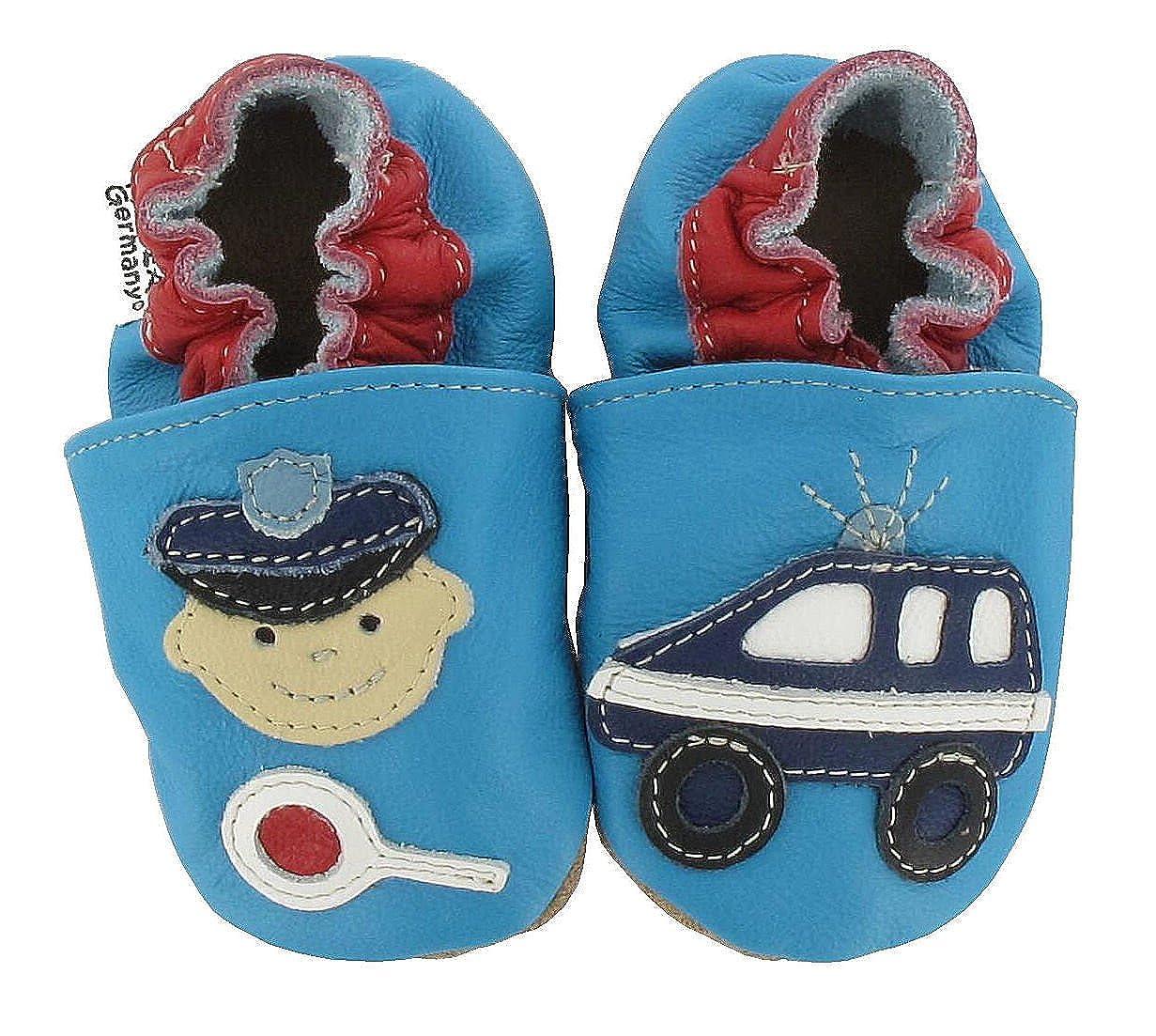 HOBEA-Germany Unisex Baby Police Krabbelschuhe