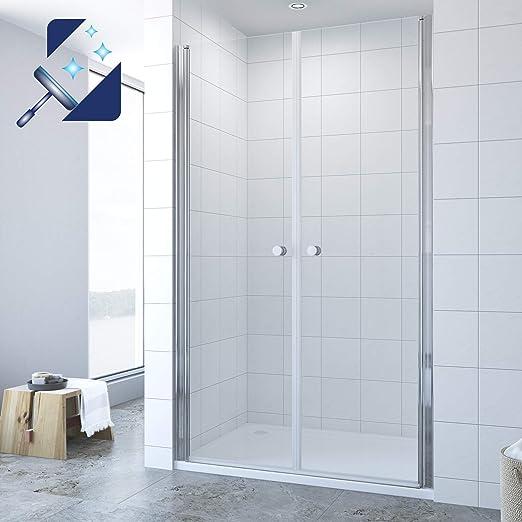 Mampara de ducha de 80 cm, puerta de nicho con nanorrevestimiento, altura 195 cm, transparente: Amazon.es: Bricolaje y herramientas
