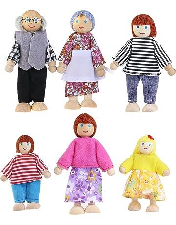 NUOLUX 6Pcs Familiares Muñecas de Madera,Cabezas Muñecas de Madera para Juguetes de casa (