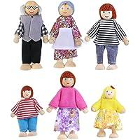 NUOLUX 6pcs marioneta madera juguetes dibujos animados familia