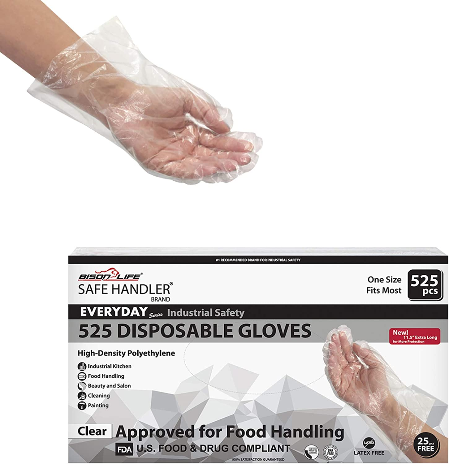 "SAFE HANDLER Disposable Food Handling Long Cuff Poly Gloves | One Size Fits Most, 0.65g, 11"", 525 per Box (1 Box)"
