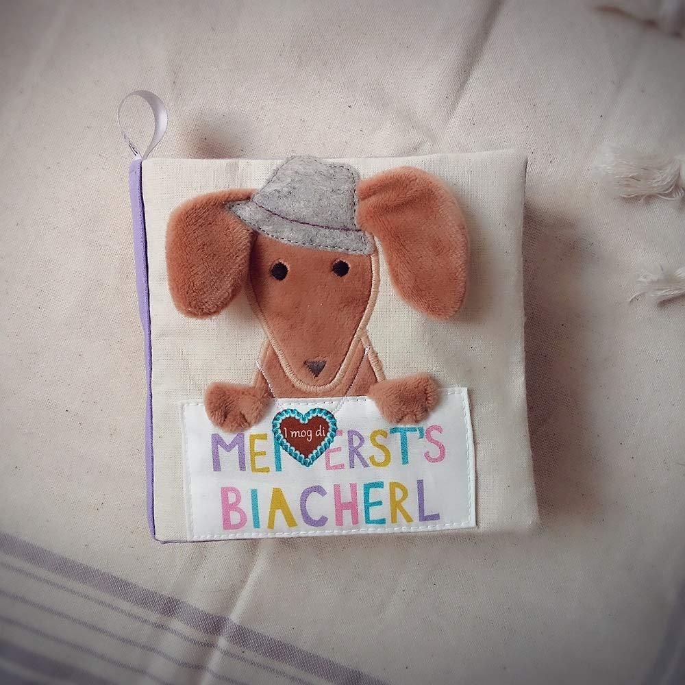 Stoffbuch mit bayrischen Motiven - Fühlbuch für Babys mit Knisterpapier, Quietscher und Spiegel - Babygeschenk süßes Geschenk zur Geburt Fühlbuch