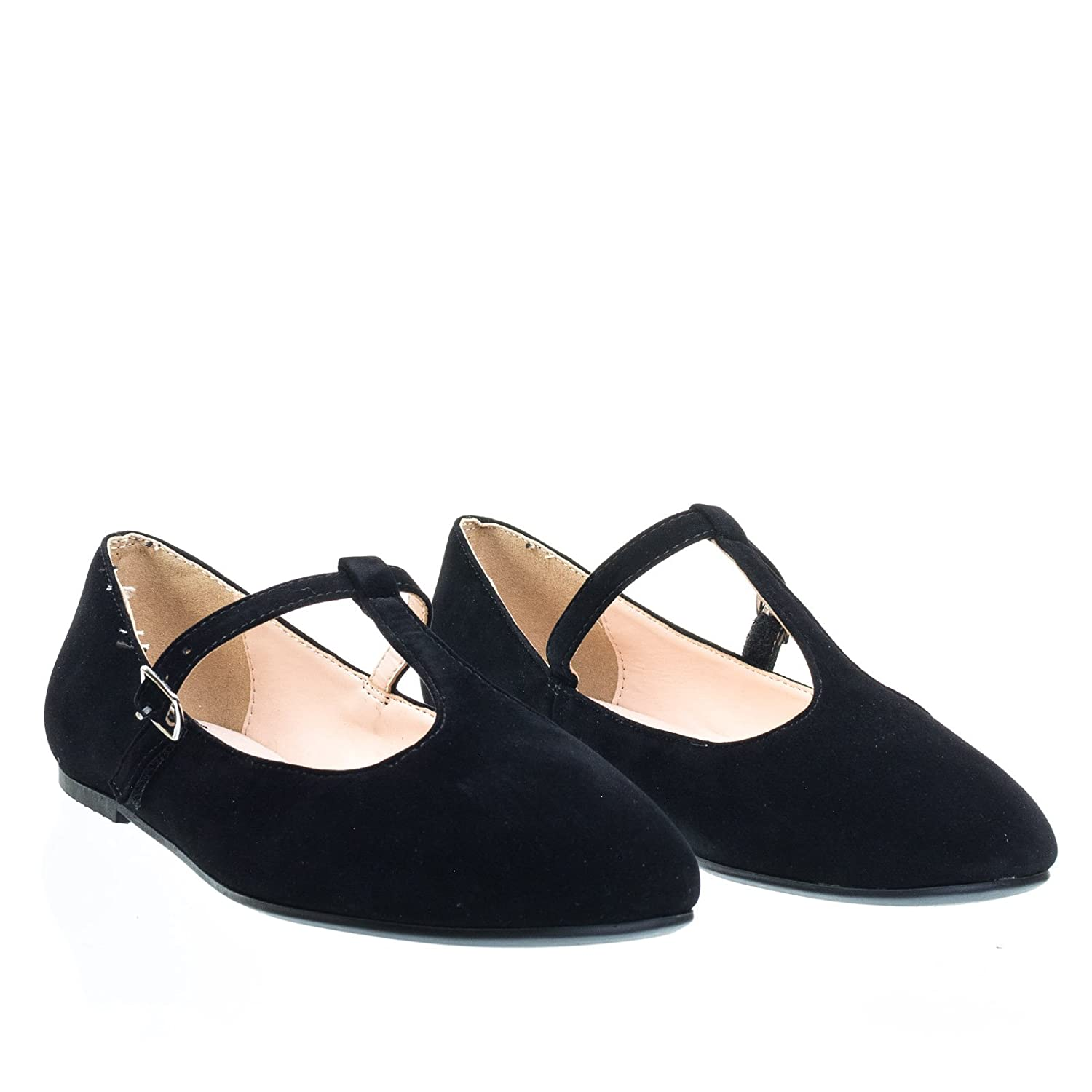 8017b1bb9 Amazon.com | City Classified Ballet T-Strap Mary-Jane Flats. Women's  Ballerina Round Toe Comfort Flats, Color:BlackD, Size:5.5 | Flats