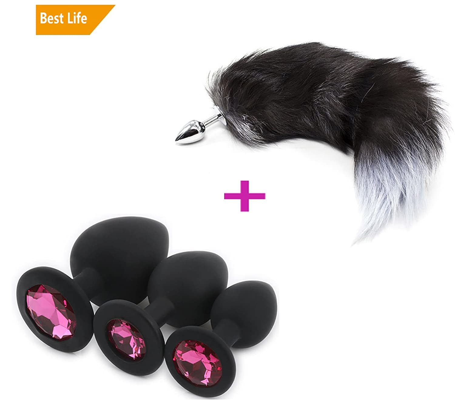 3 Pcs 3 Size Plugs Set with Fox Tail Trainer Toys for You and Your Lover (B) Baumor