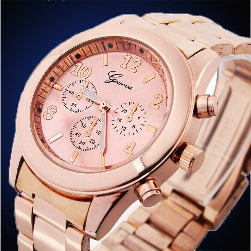 Cnlinkco Men Round Dial Analog Quartz Wrist Watches (Rose Golden 3, one size)
